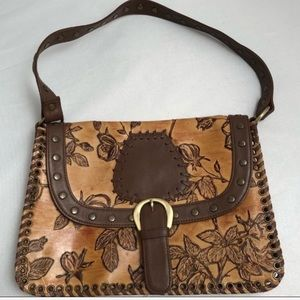 Isabella Fiore tan/brown tooled roses leather bag